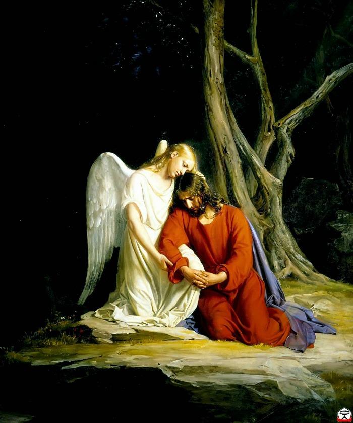 Христос в Гефсимании, ангел утешает его