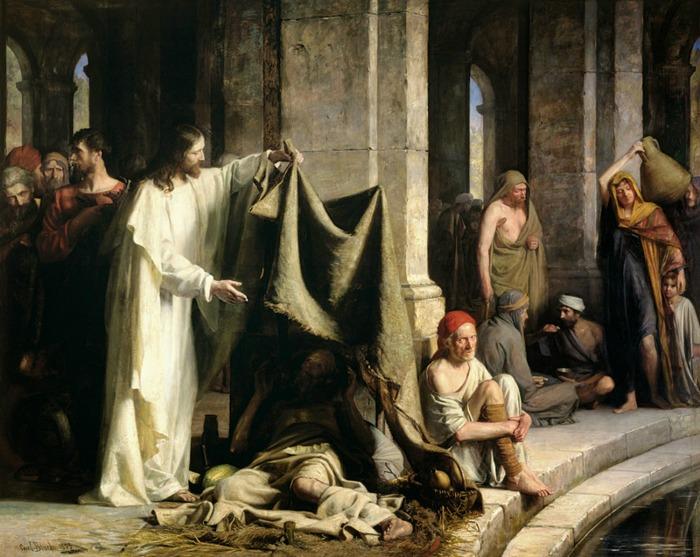 Иисус исцеляет в купальне Вифезды, Карл Блох