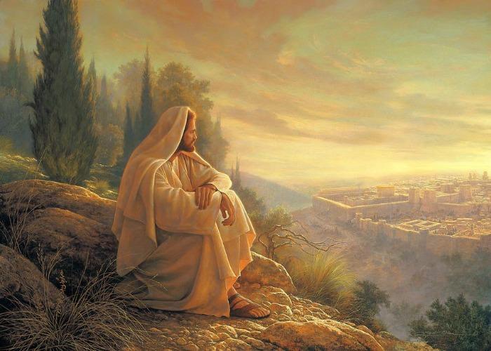 Иисус смотрит с холма на Иерусалим