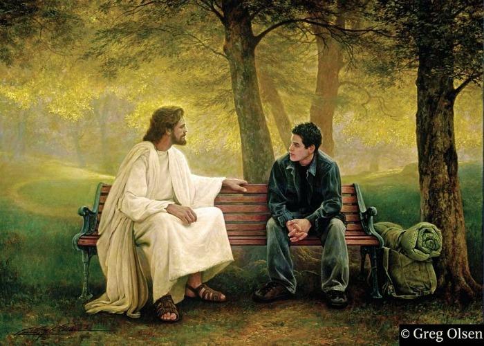 Иисус сидит на скамейке с молодым парнем, Грег Олсен