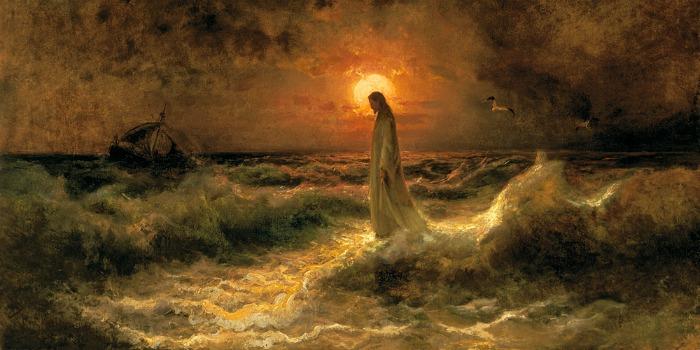 Христос идет по воде, картина, Клевер