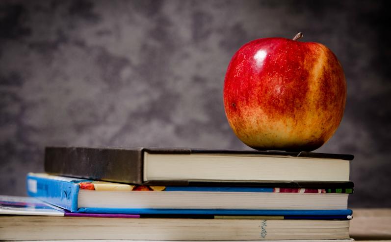 День знаний, красное яблоко на стопке книг