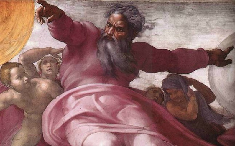 Бог указывает перстом, ангелы