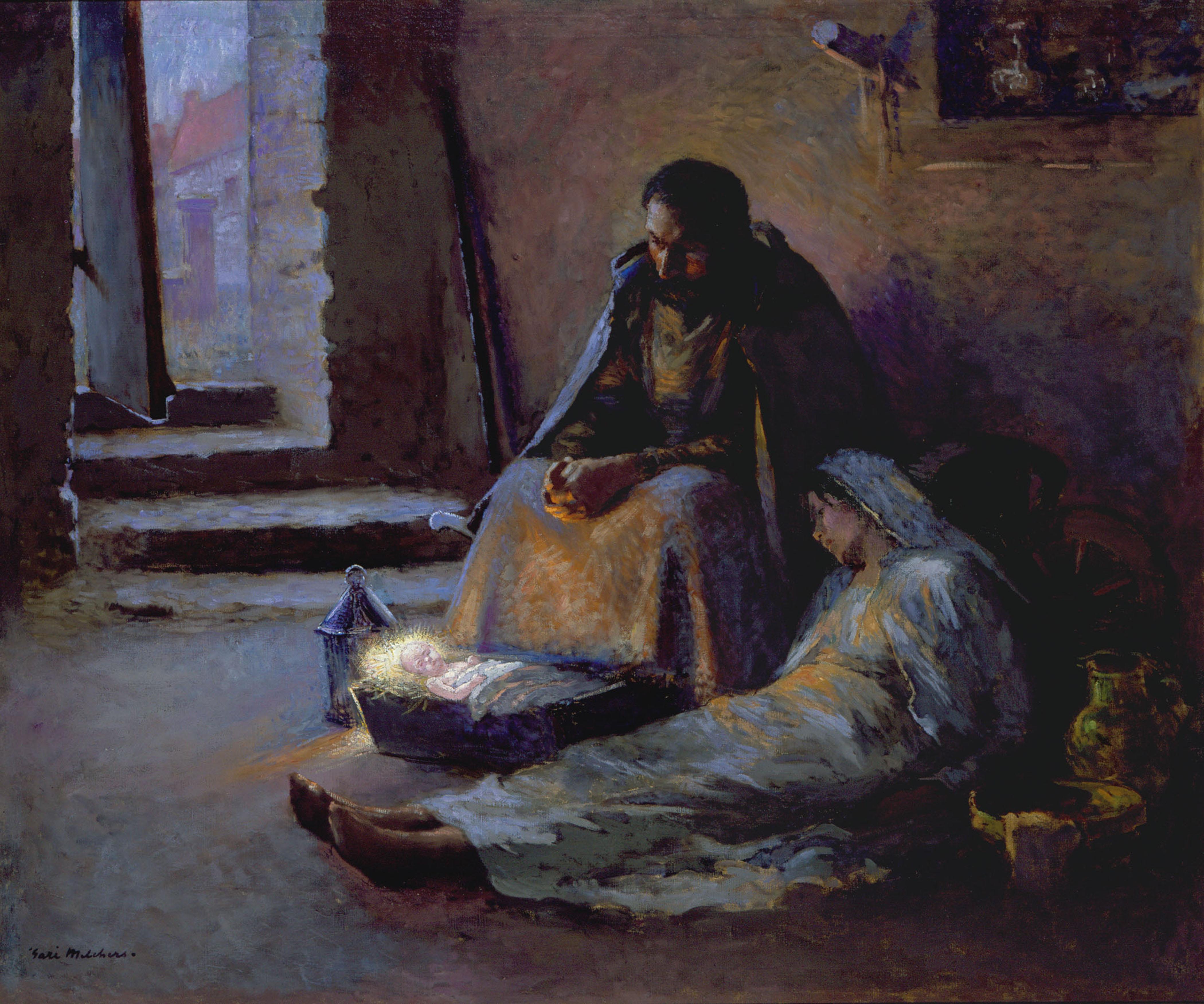 Иосиф, Мария и младенец Иисус в яслях